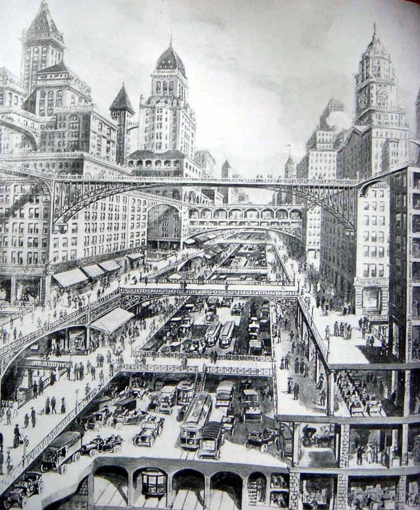 City of the Future by Harvey Wiley Corbett, 1913