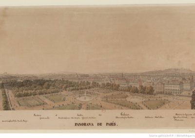 Panorama de Paris. N°4. [De la Terrasse des Tuileries au Pavillon de Flore] - [dessin] 1828
