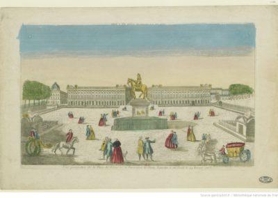 Vue perspective de la place de Louis XV. à Paris dont la statue equestre a été posée le 24 février 1763 - [estampe]