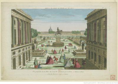 Vue perspective de la place de Louis XV. en entrant par la Porte S. Honoré à Paris. N° 124 - [estampe] 1763