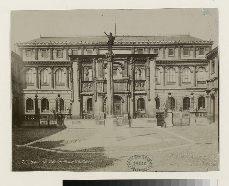 Jean Dunneteau, Vue de la Cour Bonaparte avec l'Arc de Gaillon et le Palais des Etudes (vers 1886)