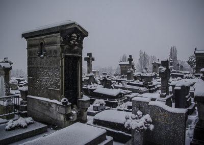 Le cimetière des Lilas sous la neige en février 2018