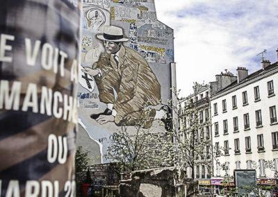 la fresque du détective place Fréhel par Julien Barret