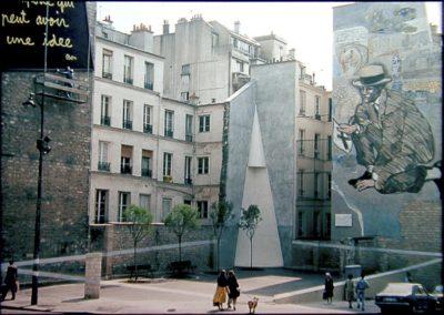 La place Fréhel photographiée par l'artiste Jean-Max Albert en 1988 CC BY-SA 4.0