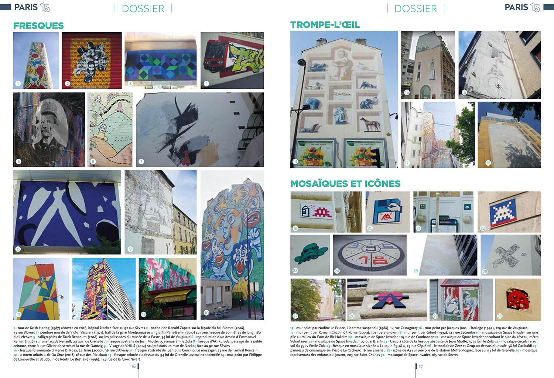Double page sur les oeuvres street art du 15e