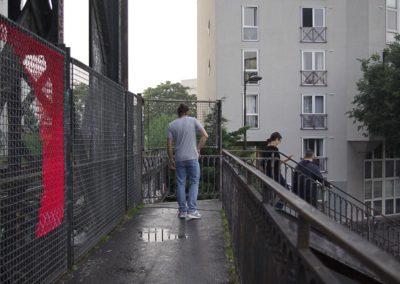 L'immeuble qui a remplacé le Chateau tremblant, vu du pont de la petite ceinture, en juin 2018
