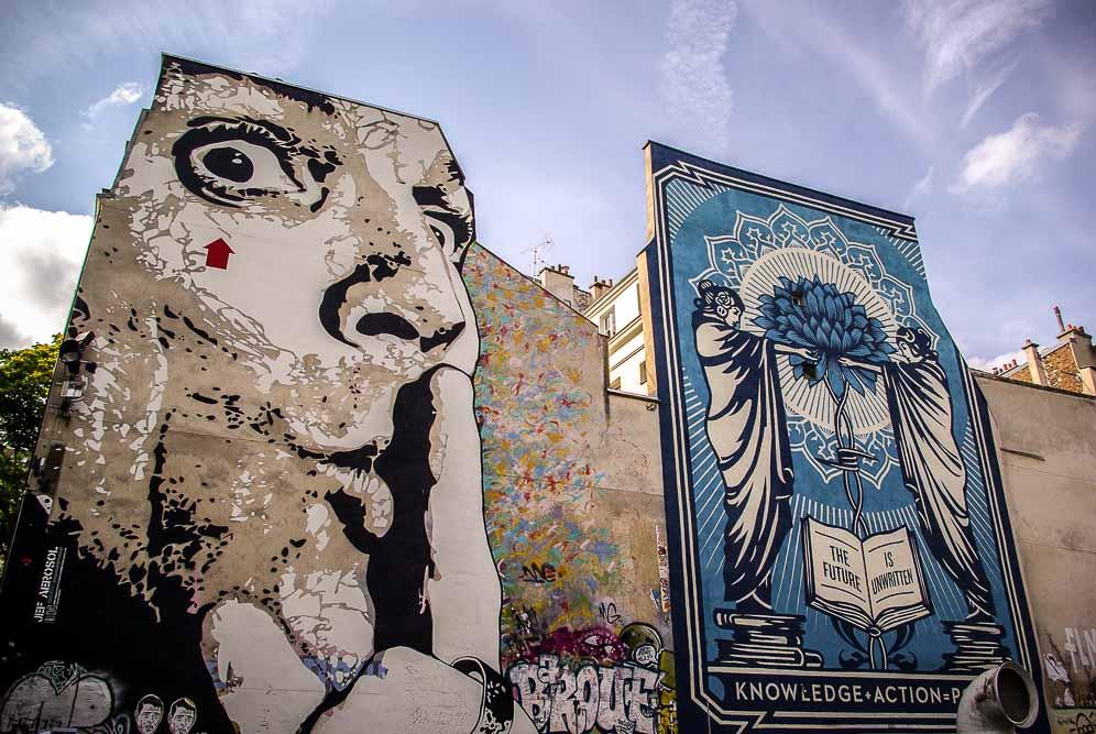 La place Stravinski en aout 2019 avec les fresques de Obey et Jef Aérosol @J.Barret-12